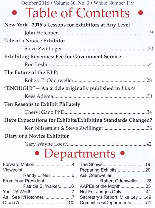 American Association of Philatelic Exhibitors The Philatelic – Table of Contents Worksheet